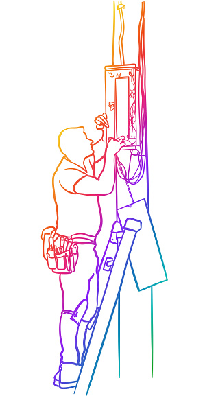 Electric Panel Maintenance Worker Rainbow