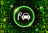 Electric Plug Car Charge  Icon on Money and Cryptocurrency Background. The main symbol depicted is in the center of the illustration. The background is made up from icon with the cryptocurrency and money theme. These vector icons make up a pattern and vary in size and in the shade of the green color. The background color is black. This image is ideal for the current cryptocurrency themed illustrations.
