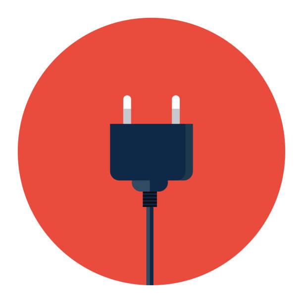 Electric Plug Icon Power Flat Vector Illustration Art