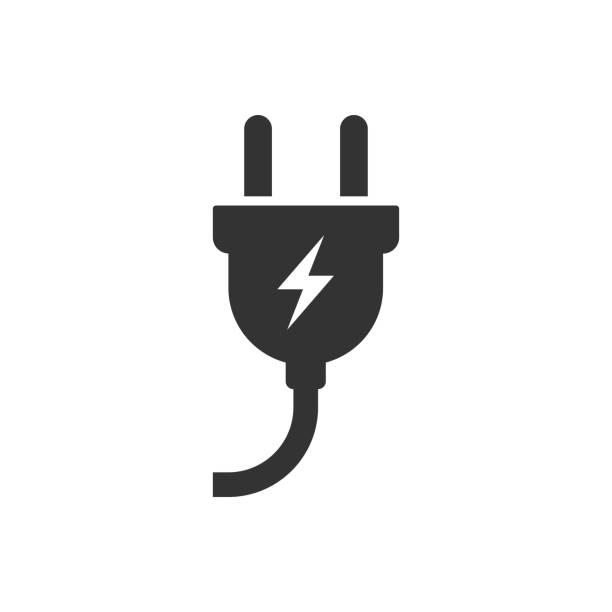 ikona wtyczki elektrycznej. ilustracja wektorowa - przewód składnik elektryczny stock illustrations