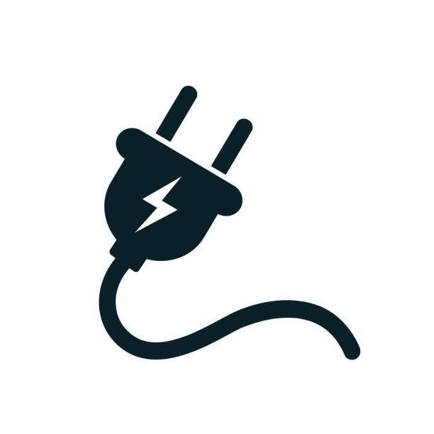 elektryczna ikona wtyczki z przewodami – wektor zapasowy - przewód składnik elektryczny stock illustrations