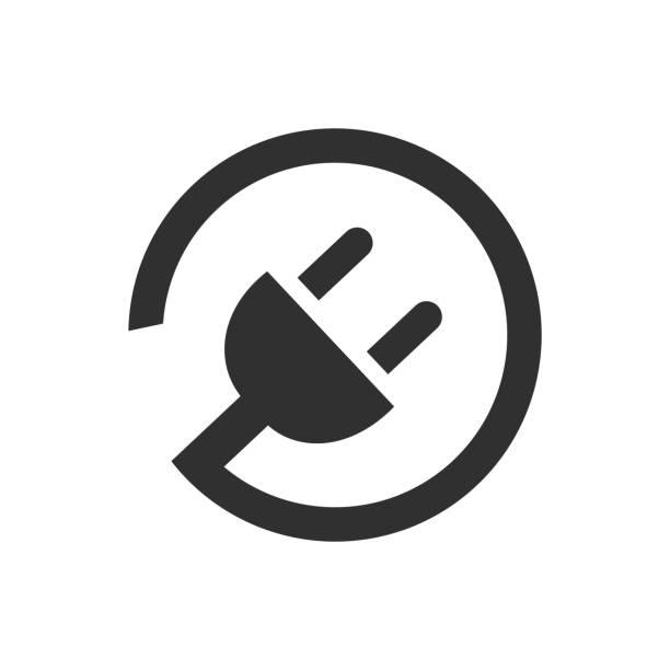 ilustraciones, imágenes clip art, dibujos animados e iconos de stock de icono de enchufe eléctrico con cable – vector - electricidad