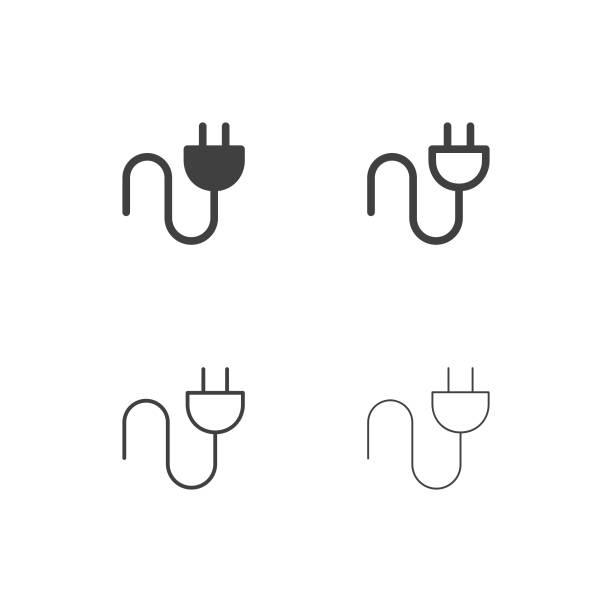ikony wtyków elektrycznych - multi series - przewód składnik elektryczny stock illustrations