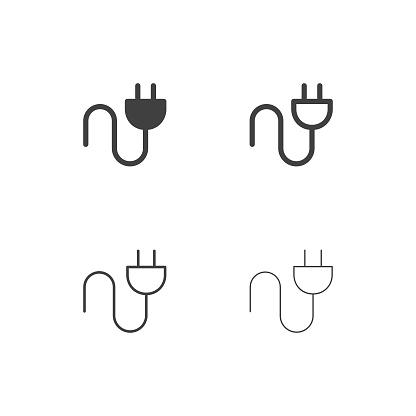 Ilustración de Enchufe Eléctrico Iconos Serie Multi y más Vectores Libres de Derechos de Adaptador