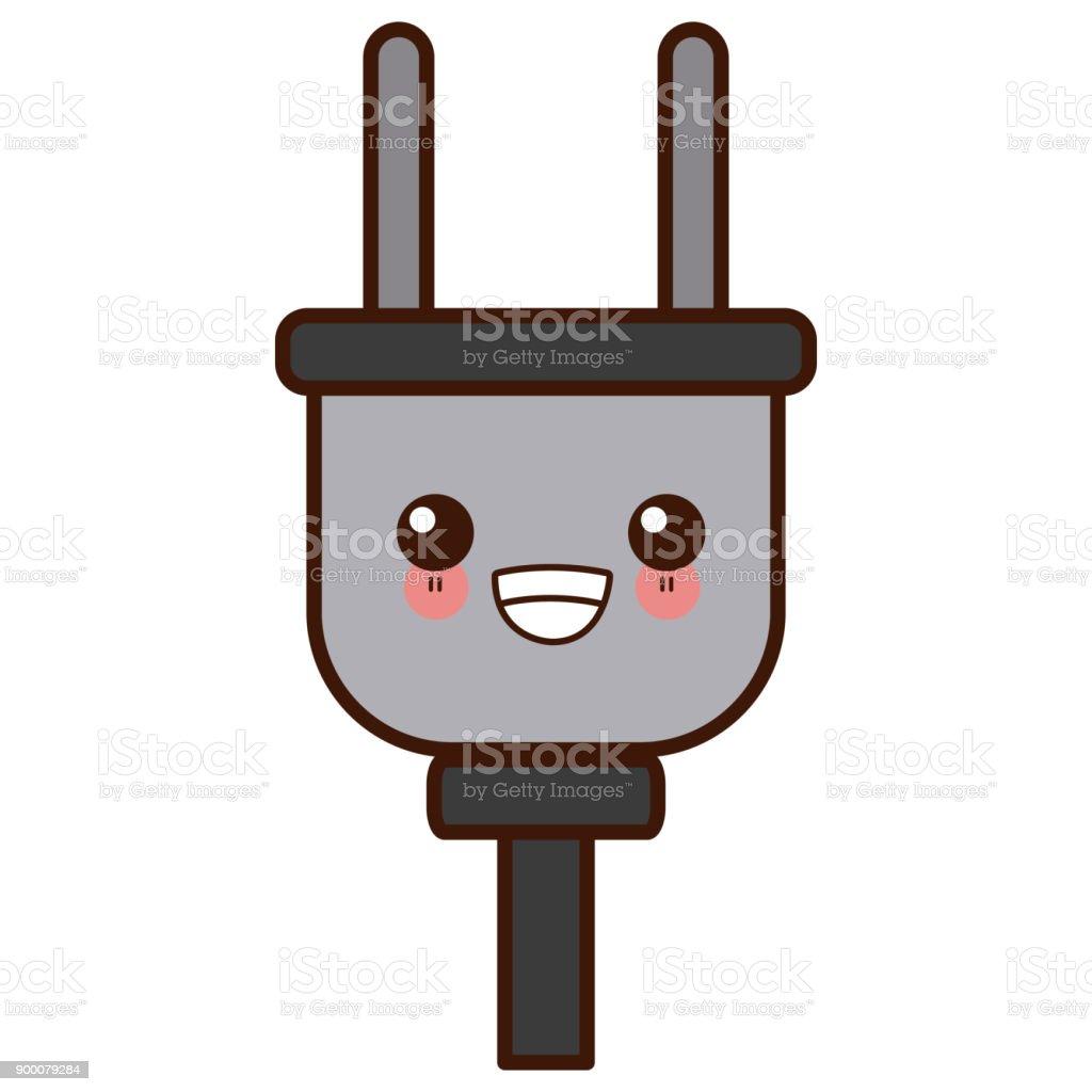 Electric Plug Isolated Cute Kawaii Cartoon Stock Vector Art & More ...