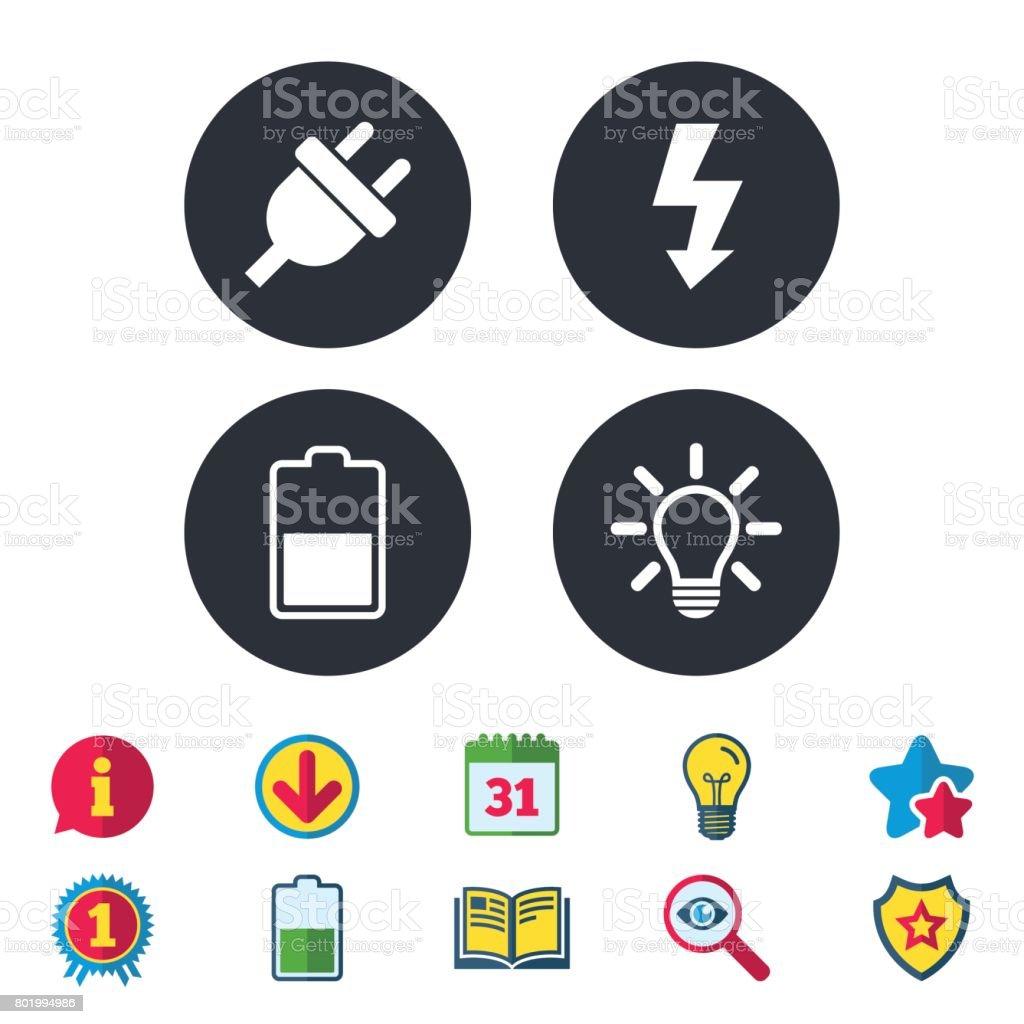Elektrische Steckersymbol Lichtlampe Und Batterie Hälfte Stock ...