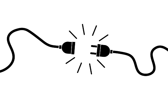 Electric plug, socket unplugged. 404 error, loss of connect. Vector on isolated white background. Eps 10