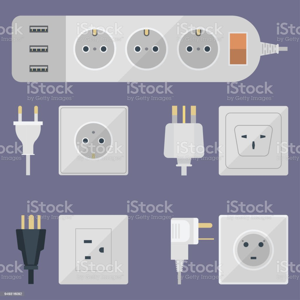 Electric plugs stack outlet illustration energy socket electrical outlets plugs european and usa, asia appliance interior icon. Wire cable cord plug-connection electrical outlets plugs double american vector art illustration