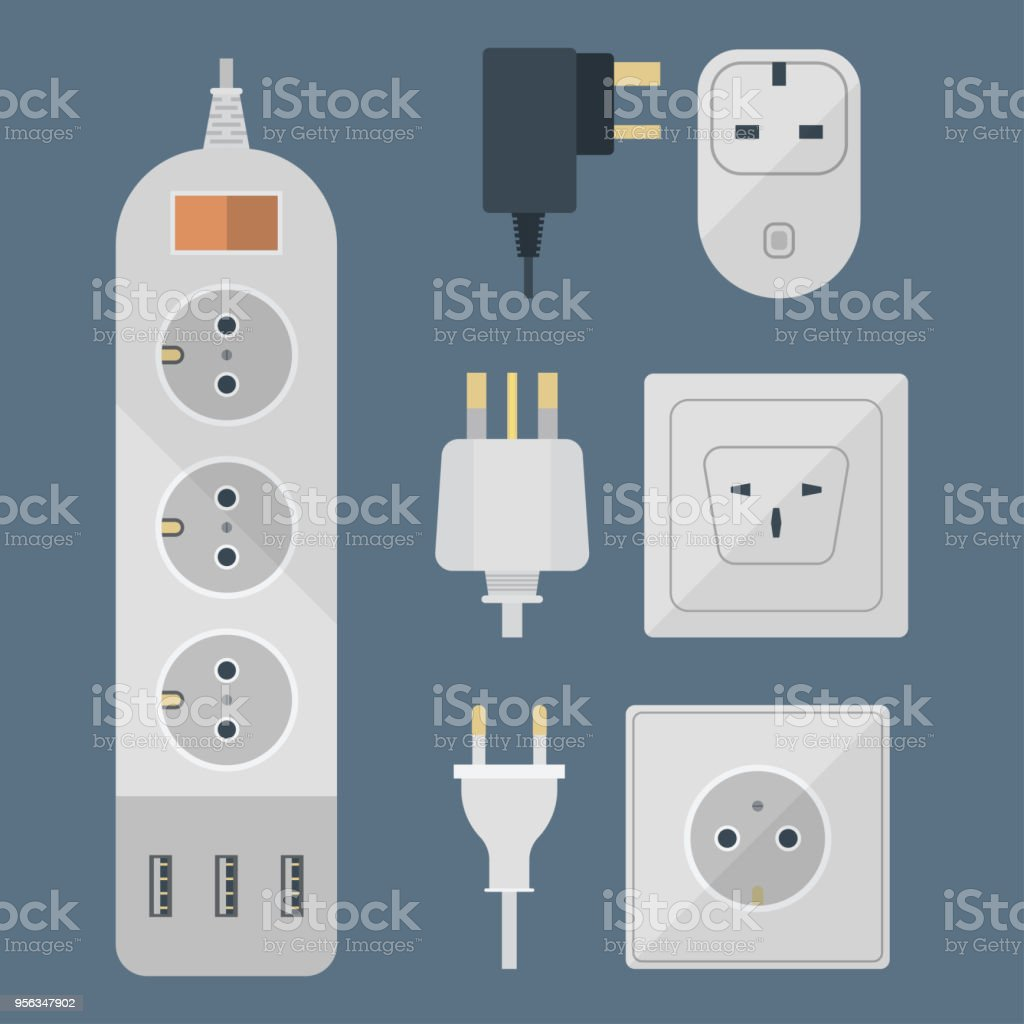 Electric Plugs Stack Outlet Illustration Energy Socket Electrical Wiring Cable Computer Equipment Power Line Wire