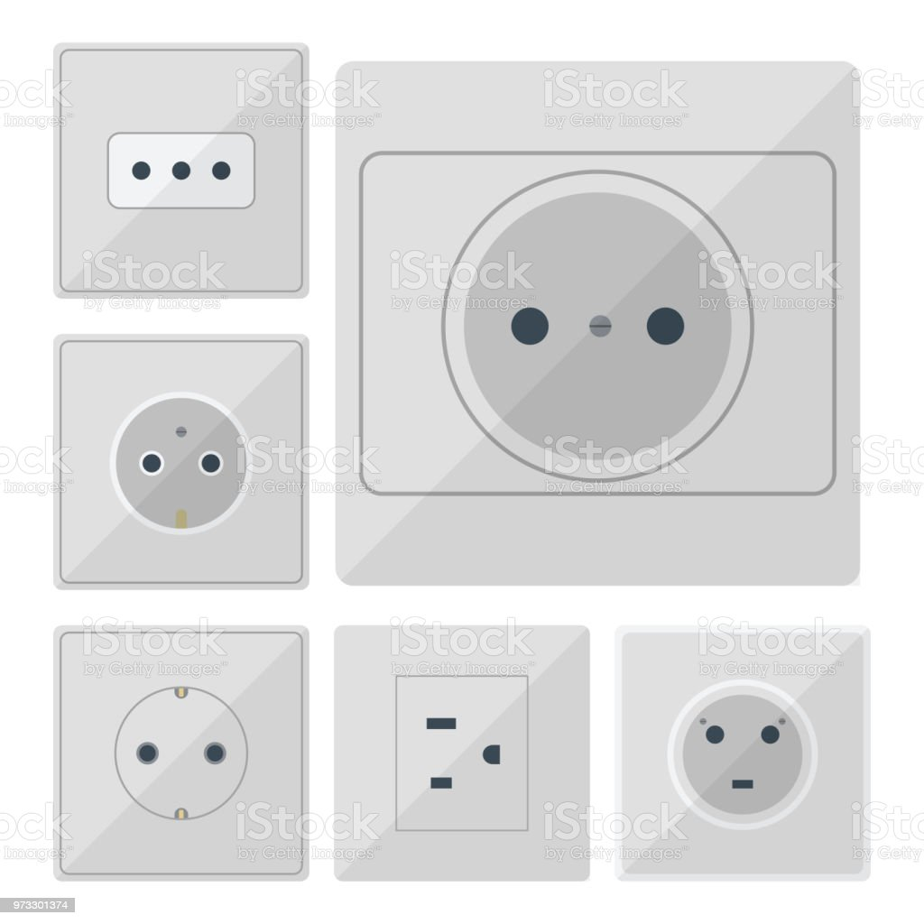 Electric Plugs Stack Outlet Illustration Energy Socket Electrical Wiring Wall Outlets European And Usa Asia Appliance