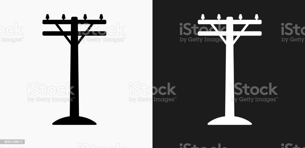Ilustración de Poste Eléctrico Icono En Blanco Y Negro Vector Fondos ...