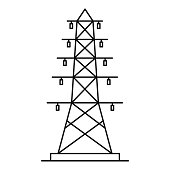 Electric pole icon, outline style