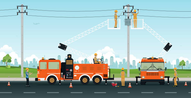 Electric Pole Repair Electrician works on a basket crane with a city backdrop. transformer stock illustrations
