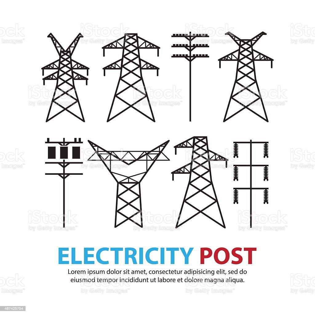 Ilustración de Electric Poste De Alta Tensión Juego y más banco de ...