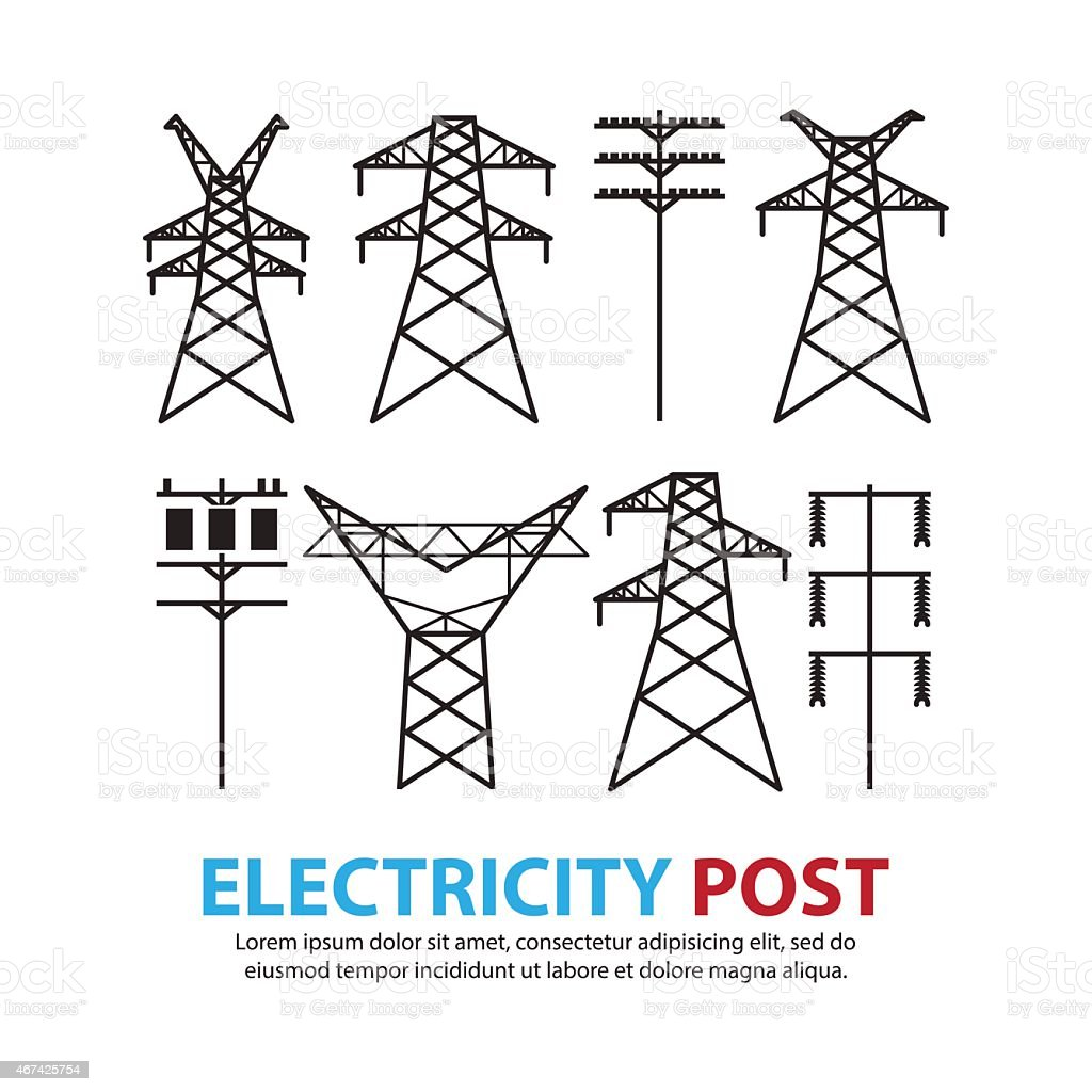 electric post,high voltage set vector art illustration