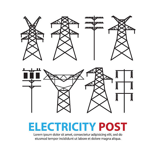 stockillustraties, clipart, cartoons en iconen met electric post,high voltage set - hoogspanningsmast