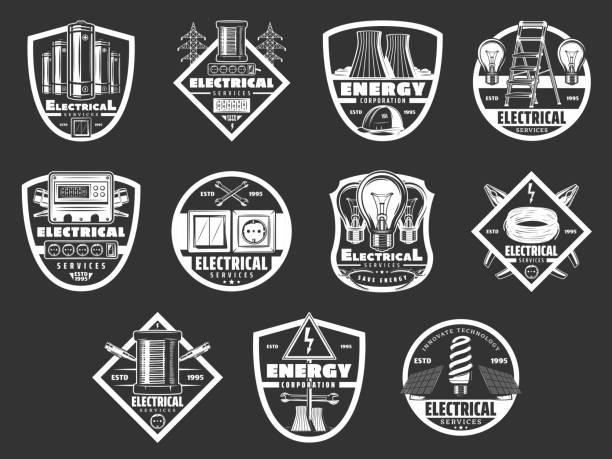 ilustraciones, imágenes clip art, dibujos animados e iconos de stock de industria de energía eléctrica y energía eléctrica - amperímetro