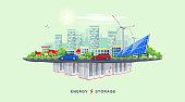 Electric Power Station and Underground Battery Storage System with Urban City Island Skyline Street