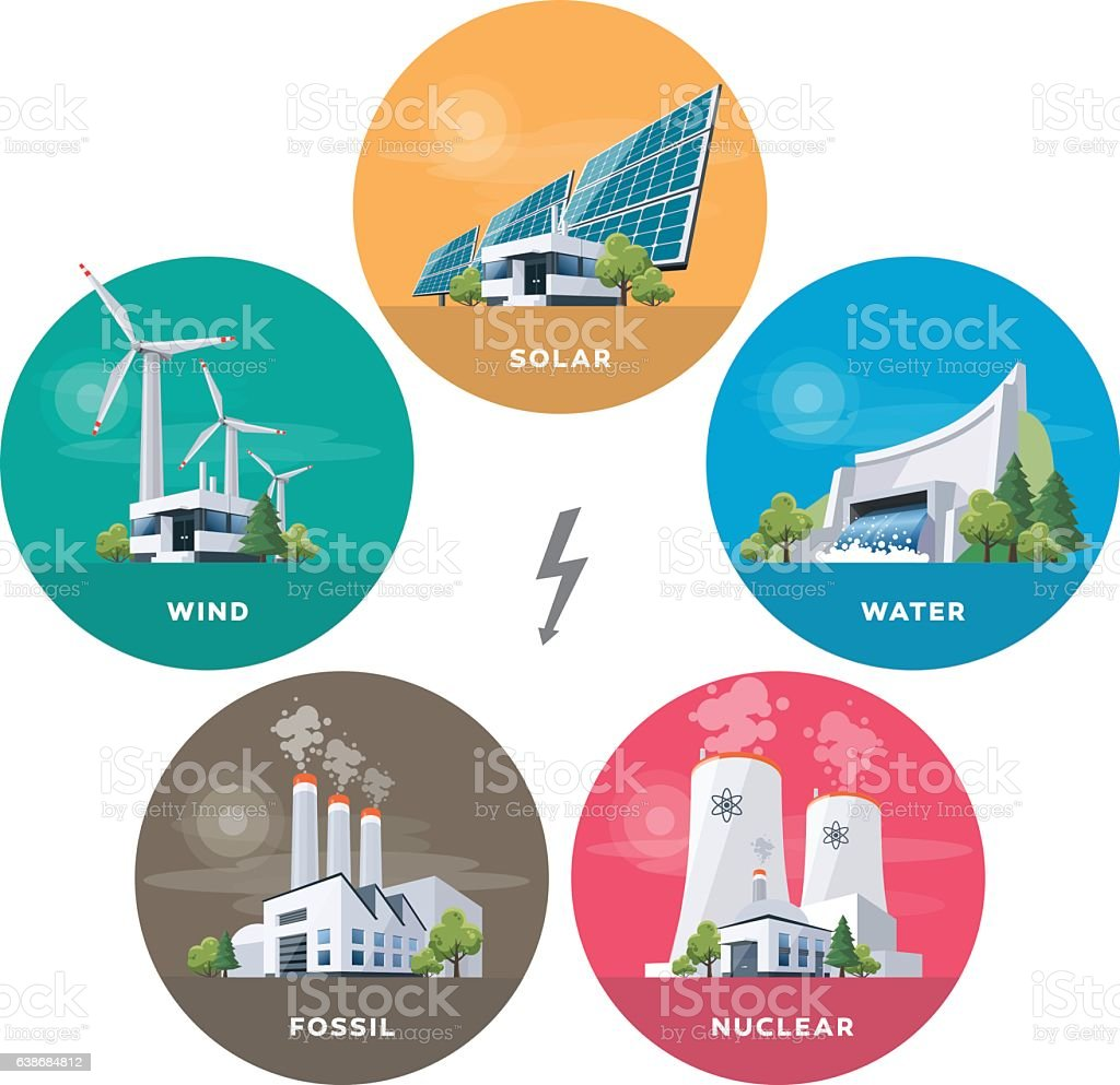 Electric power station types vector art illustration