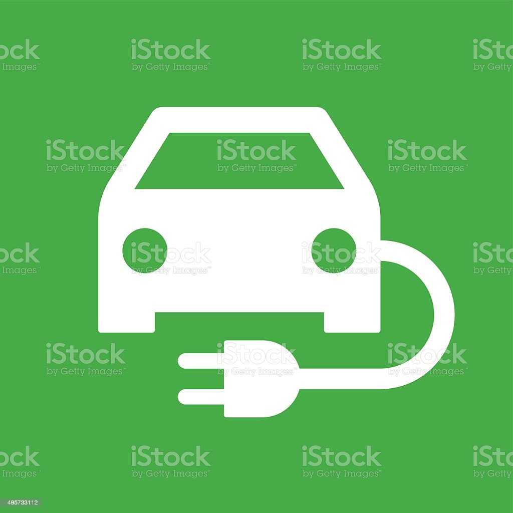 Electric powered car vector art illustration