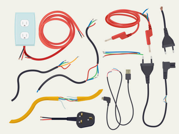 Electric problem. Damaged communication cable with plug broken connection cut electrical signal vector Electric problem. Damaged communication cable with plug broken connection cut electrical signal vector. Cable and wire plug, power electric electrical illustration cable stock illustrations