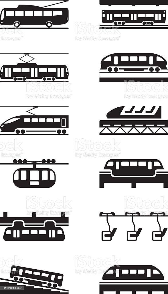 Electric public transportation vector art illustration