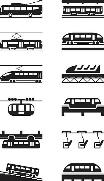 Electric public transportation Electric public transportation - vector illustration high speed train stock illustrations