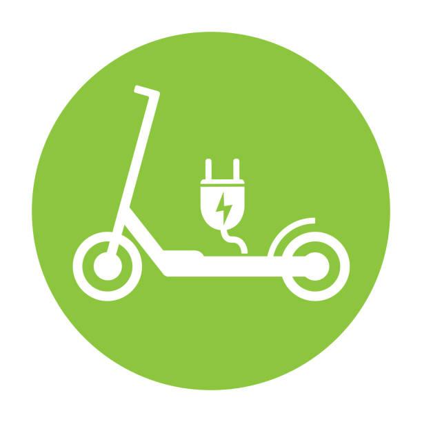 illustrazioni stock, clip art, cartoni animati e icone di tendenza di electric push scooter e-scooter symbol with plug - monopattino elettrico
