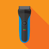 Vector illustration of an electric razor against an orange background in flat style.