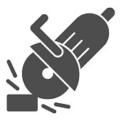 istock Electric saw solid icon, house repair concept, saw sign on white background, circular saw icon in glyph style for mobile concept and web design. Vector graphics. 1264201500