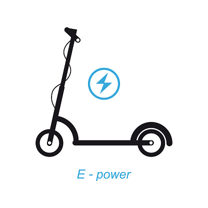 Electric scooter black icon.