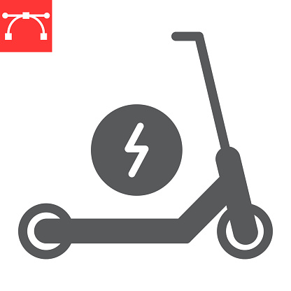 Electric scooter glyph icon