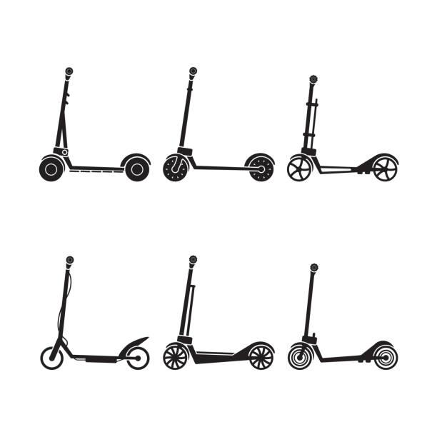 illustrazioni stock, clip art, cartoni animati e icone di tendenza di electric scooter icon set. vector. - monopattino elettrico