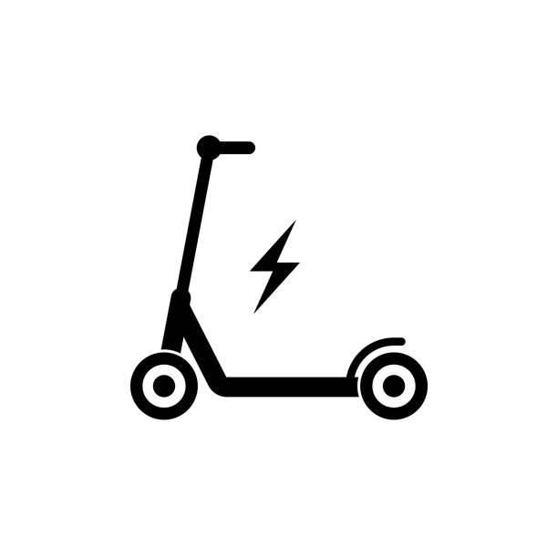 Electric scooter icon simple design vector art illustration