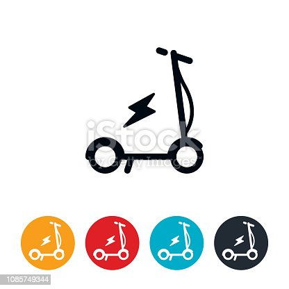 An icon of an electric scooter. The icons have editable strokes/lines.