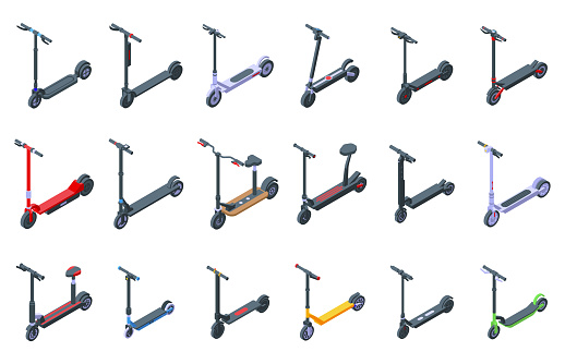 Electric scooter icons set, isometric style