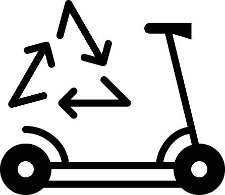 Electric Scooter Recycle Concept, Green Kick Bike Vector Glyph Icon Design, Green transport Symbol on white background, eco Motorized scooter Sign, mobile app ui elements