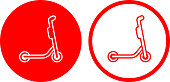 Electric Scooter Side View Icon. This 100% royalty free vector illustration is featuring a round shaped red button. The main icon is depicted in white. There is an alternative variation with a red outline and white background on the right.