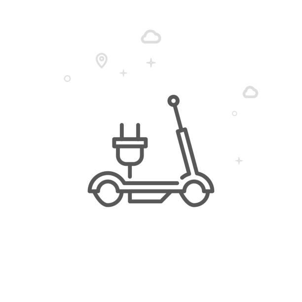 illustrazioni stock, clip art, cartoni animati e icone di tendenza di electric scooter vector line icon, symbol, pictogram, sign. light abstract geometric background. editable stroke - monopattino elettrico