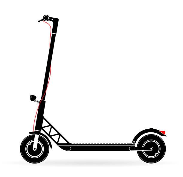 illustrazioni stock, clip art, cartoni animati e icone di tendenza di electric scooter with battery in the platform. black contour on a white background. youth modern form of transport. - monopattino elettrico