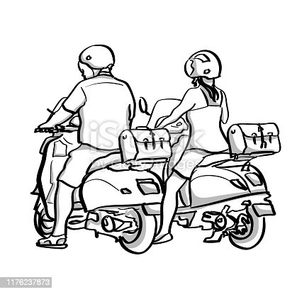 Couple riding side by side on their electric scooters.  Vector sketch illustration