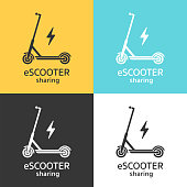 Vector illustration of a scooter and energy symbol in black and white colors, isolated on different color backgrounds.