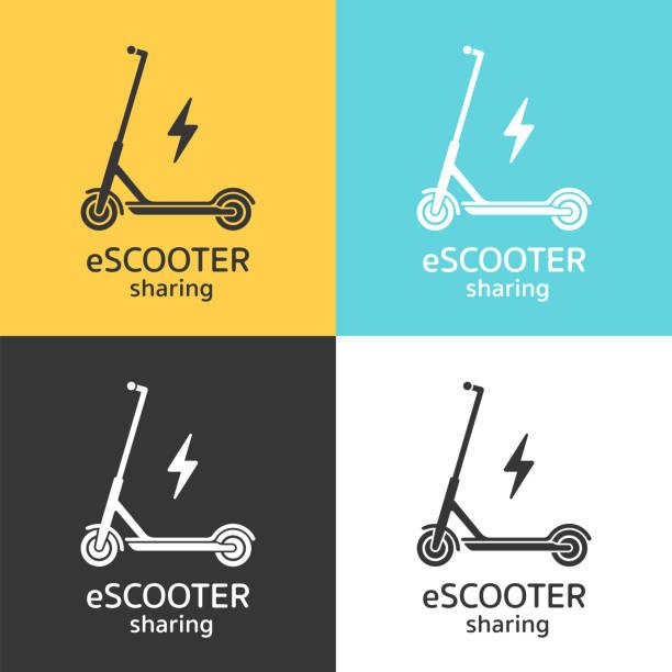 illustrazioni stock, clip art, cartoni animati e icone di tendenza di electric scooters sharing icon concept. - monopattino elettrico