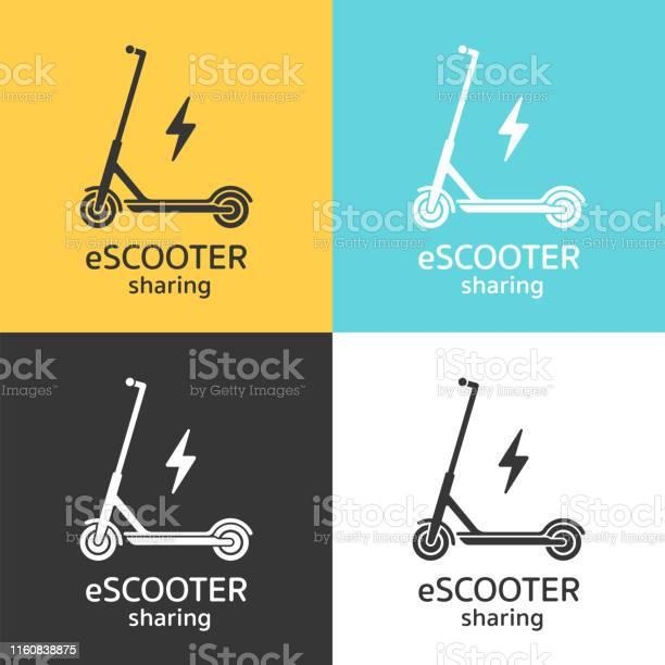 Elektrische Scooters Delen Icoon Concept Stockvectorkunst en meer beelden van Begrippen