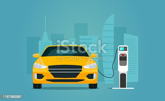 Electric sedan car isolated. Electric car is charging, front view. Vector flat style illustration.