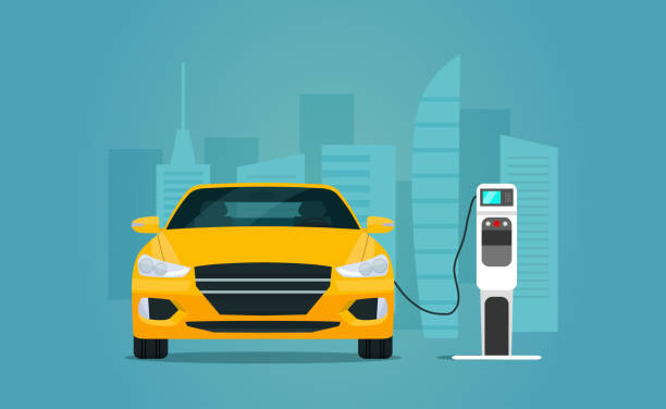 Electric sedan car isolated. Electric car is charging, front view. Vector flat style illustration. Electric sedan car isolated. Electric car is charging, front view. Vector flat style illustration. electric vehicle charging station stock illustrations