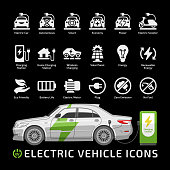 Electric sedan car vector mockup with charging station on a black background. Electro vehicle silhouette icon set with charger, battery power and plug.