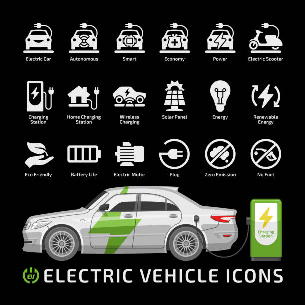 Electric sedan car vector mockup with charging station on a black background. Electro vehicle silhouette icon set with charger, battery power and plug. Electric sedan car vector mockup with charging station on a black background. Electro vehicle silhouette icon set with charger, battery power and plug. electric vehicle stock illustrations