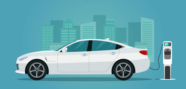 Electric sedan isolated. Electric car is charging, side view. Vector flat style illustration. Electric sedan isolated. Electric car is charging, side view. Vector flat style illustration. electric vehicle charging station stock illustrations