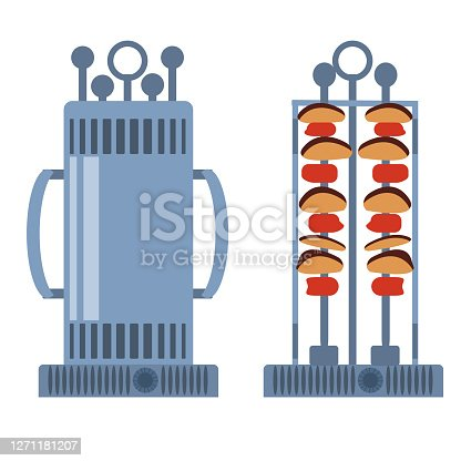 Electric shashlik a white background. Home BBQ grill open, closed, empty and  with food. Equipment for the kitchen. Vector illustration in flat style. Kitchenware grill. Kebab maker
